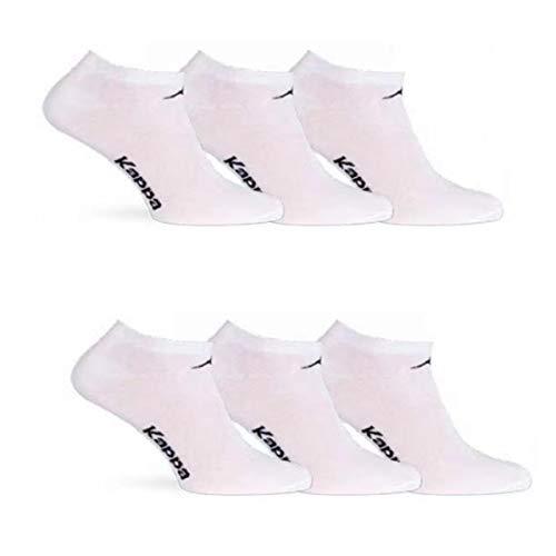 6 paia calzini KAPPA , calzini fantasmini invisibili ,calzini sneakers in cotone ,modello unisex, vari assortimenti. (42-44, 6 paia bianco)
