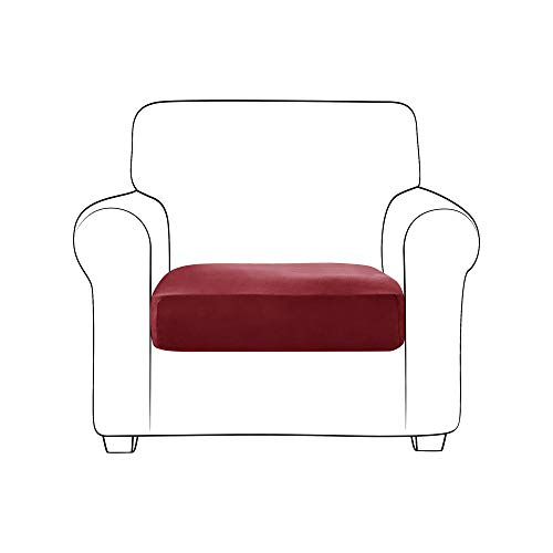 MILARAN Velvet Sofa Cushion Slipcover, Stretch Soft Couch Seat Cushion Cover, Furniture Protector for Living Room, Home Decor(1PCS,Burgundy)