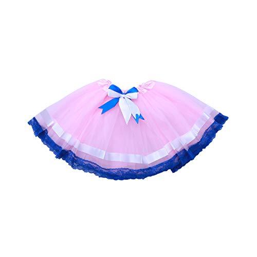 TENDYCOCO Mädchen mesh Tutu Rock Bogen Spitze Prinzessin tüll tanzen Rock für Kind Leistung Party 3-8y (rosa)