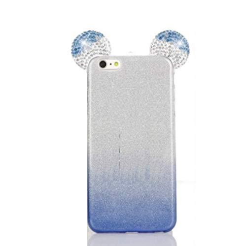 Para HUAWEI Y62 Y6II Y6 II 2 Compact 5.0' LYO-L01 pantalla 5.0' cubierta funda protectora ratones case slim gel silicona TPU suave + azul degradado plata brillantes Lurex brillante