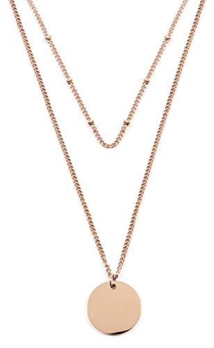 Happiness Boutique Damen Zweireihige Kette mit Kreis Anhängern in Rosegold | Mehrreihige Halskette Runde Plättchen