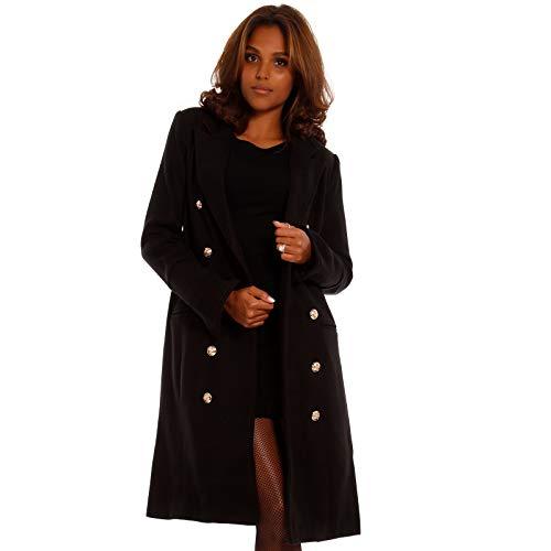Damen Mantel im Military-Style, Farbe:Schwarz, Größe:S/36