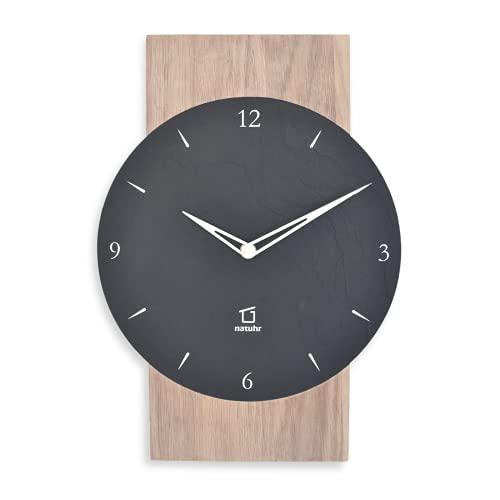 Natuhr Schesaplana - Reloj de pared de pizarra - Madera de roble encalado fabricado en Alemania (pizarra - roble encalado, mecanismo de radio)