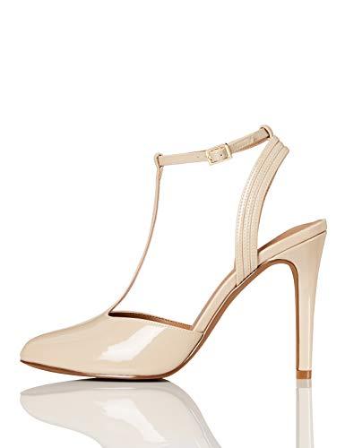 Marca Amazon - FIND Stiletto Round Toe T-Bar Zapatos de Tacón, Beige (Nude), 37 EU