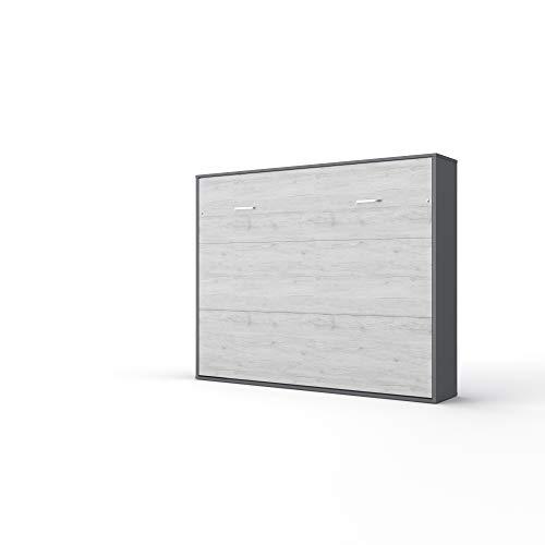 Invento Schrankbett Wandklappbett Horizontal Bettschrank Funktionsbett Gästebett Klappbar Schrank mit integriertem Klappbett Gästezimmer Wohnzimmer Schlafzimmer 160x200 (Grau Matt/Monaco Eiche