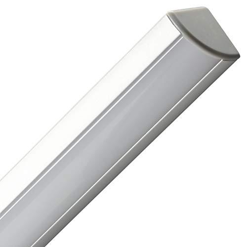 Gedotec Winkel-Profil Alu LED-Eckprofil Aluminium Profilleiste für LED-Streifen - Stripes | Länge 2500 mm | silber eloxiert | Aluminiumprofil mit Scheibe milchig | 1 Stück - Aufbauprofil abgewinkelt