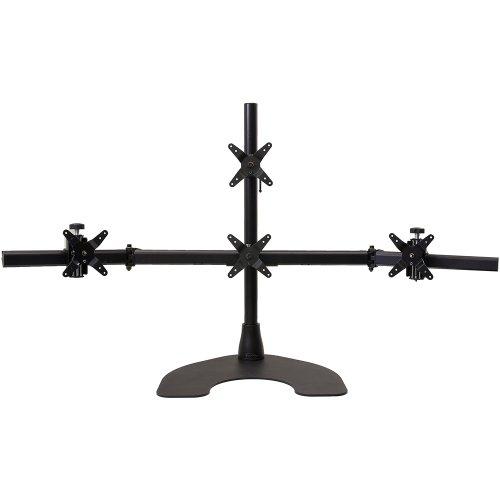 Ergotech 1 x 3 Quad Desk Stand with 28-Inch Pole - Black (100-D28-B13)