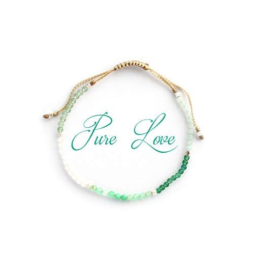 """Pulsera Aura \"""" Amor Puro\"""" con cristales semi preciosos naturales: Cuarzo rosa, Crisoprasa, Jade, Aventurina y Amazonita, cuentas de plata 925, Hecho a mano en Bali. Bendecido bajo la luna llena"""