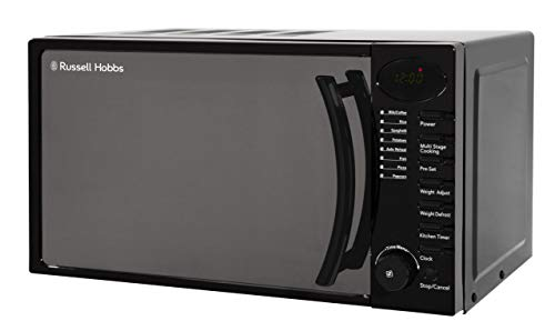 Russell Hobbs RHM1714B 17 Litre 700 W Black Digital Solo Microwave with 5 Power Levels, Digital Clock and Timer, 8 Auto Cook Menus, Automatic Defrost, Easy Clean