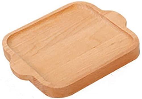 Bandeja de servicio para el hogar para comer, platos de madera rectangulares para servir, bandeja de bambú para vajilla, bandeja para el té para la cena, fuente para bebidas de cumpleaños-B 19x16x2cm