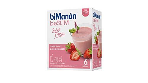 BiManán beSLIM - Batido Sustitutivo Sabor Fresa, para ayudarte a controlar tu peso - 6 Unidades x 330g