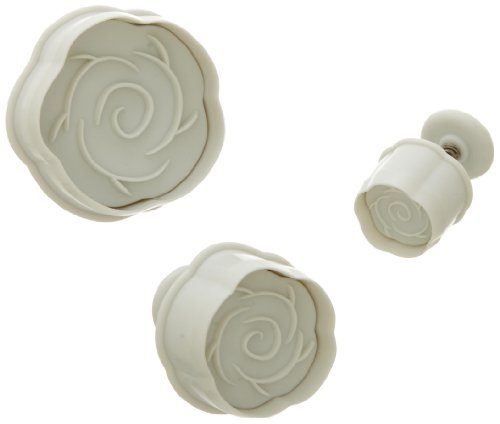 Ateco Rose Plunger Cutters, Set of 3 Sizes, for Cutting Decorations & Direct Embossing, Spring-loaded Handle, Food Safe Plastic