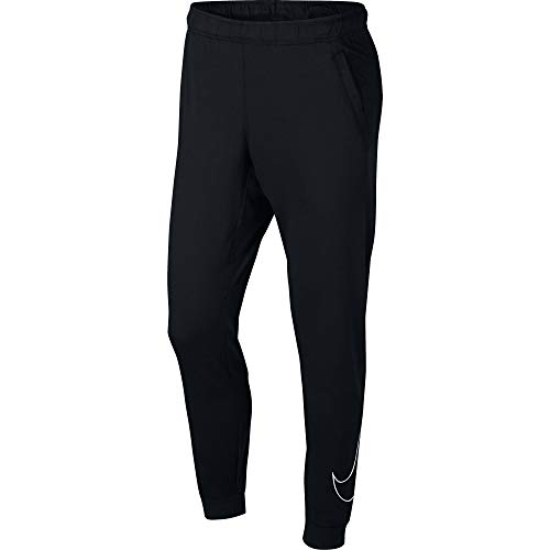 Nike Men's Moisture Wicking Dri-FIT Training Pants (Black/White,Large)