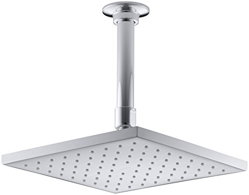 KOHLER 45200-CP Contemporary Square Rainhead with Katalyst Air-Induction Spray, 2.0 GPM, 8-Inch, Polished Chrome