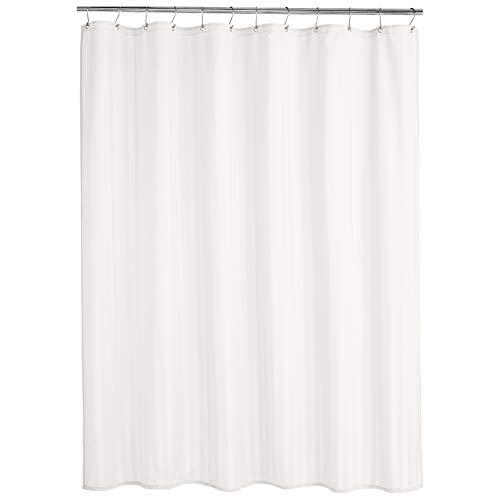 AmazonBasics - Cortina de ducha de poliéster estilo damasco, blanco, 183 x 200 cm