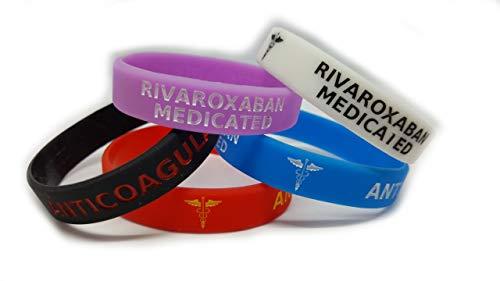 WristbandsForYou.com Rivaroxaban Medizinisches Armband, leuchtet im Dunkeln, Rot, Schwarz, Lila, Blau, Antikoagulant, 5 Stück (Adult 202mm/8inch Circumference)