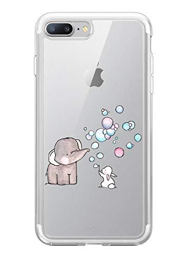 Suhctup Silicone Custodia Compatibile per iPhone 5 / 5S / SE, Cover iPhone 5 Silicone Morbido Trasparente con Disegni, Ultra Sottile Antishock TPU Gel Protettivo Case [Elefante e Coniglio]