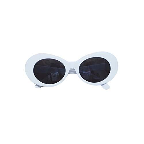 Formulauff - Gafas de sol para mujer, estilo retro, ovaladas, montura gruesa, protección UV, con gafas redondas, 51 mm, color blanco y gris