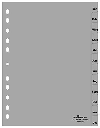 Durable 6514-10 Ordnerregister Jan.-Dez, A4 hoch, 12-teilig, PP, grau (3er Pack)