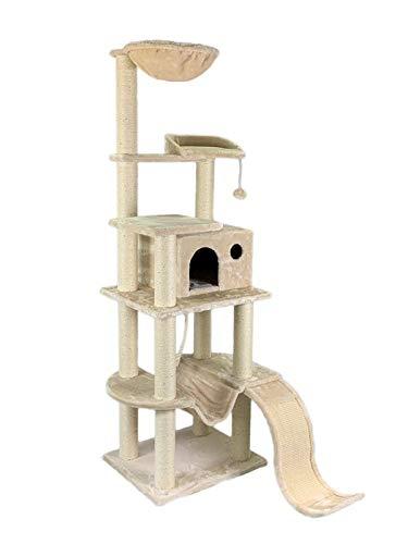 animal-design Katzen-Kratzbaum XXL beige - Fabio - mit gepolsterter Liegefläche, Liegemulde/Kuhle, großer Wohnhöhle, Hängematte, Sisal-Kratzfläche/Kratzbrett, Spielseil, Spielballmaus