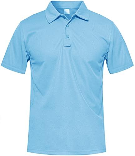 MAGCOMSEN Outdoor Polo T-Shirt Herren Sommer Herbst Sportshirt Quick Dry Hemd Herren Atmungsaktiv Wandern Trekking T-Shirt US Army Shirts mit Knopfleiste Himmelblau 2XL