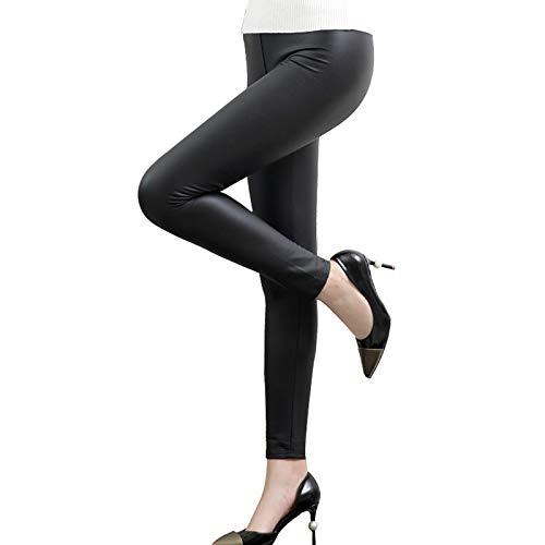UFLF Leggins Cuero Mujer Pantalón Cuero Térmico Negro Mate Pantalones Elástico PU Calentito con Cintura Alta para Invierno