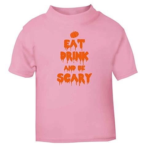 Flox Creative T-Shirt pour bébé Inscription Eat Drink Scary Noir - Rose - 6 Mois