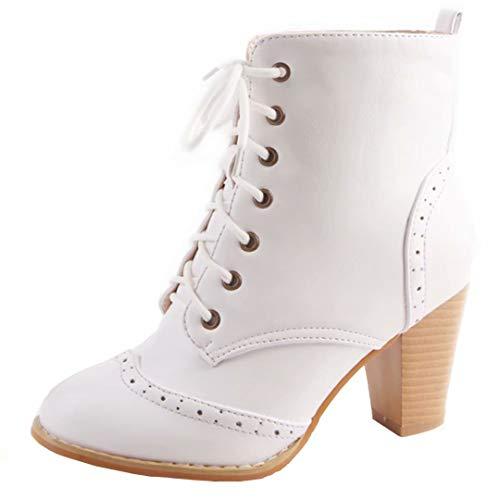 AIYOUMEI Damen Schnürstiefeletten Blockabsatz Stiefeletten mit Schnürung und 8cm Absatz Bequem...