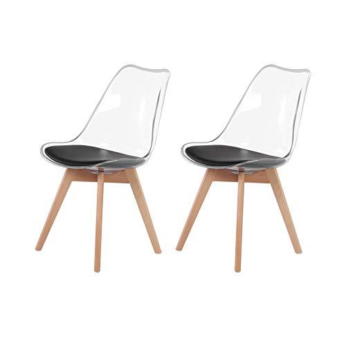 H.J WeDoo 2er Set Esszimmerstühle Skandinavisch Stühle Küchenstühle Wohnzimmerstuhl mit Schwarz Kunstleder Kissen und Buchenholzbeine, Transparent