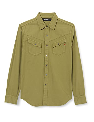 REPLAY M4056 Camisa, 739 Military, S para Hombre