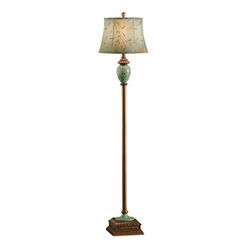 Lampe sur pied Americana Lámpara Living Estudio vertical lámpara de mesa creativa retro sofá dormitorio Warm LED de la lámpara de resina bordado pantalla de la tela,Lampes sur pied salon