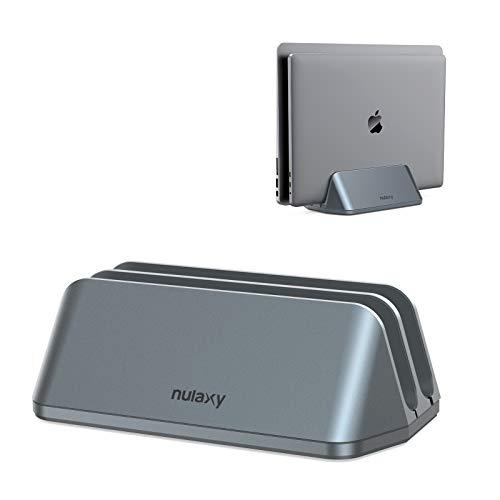 Nulaxy Supporto verticale per computer portatile, scrivania salvaspazio per laptop con doppio dock, compatibile con Macbook, tutti i laptop fino a 17,3 pollici - Grigio
