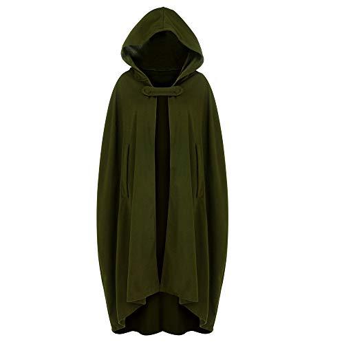 Zimuuy Damen Kleider Karneval Kostüm Mittelalter Kostüm Luxuriös Kostüm Trenchcoat Cardigan mit offener Vorderseite Mantel Mantel Cape Poncho (Armeegrün, M)