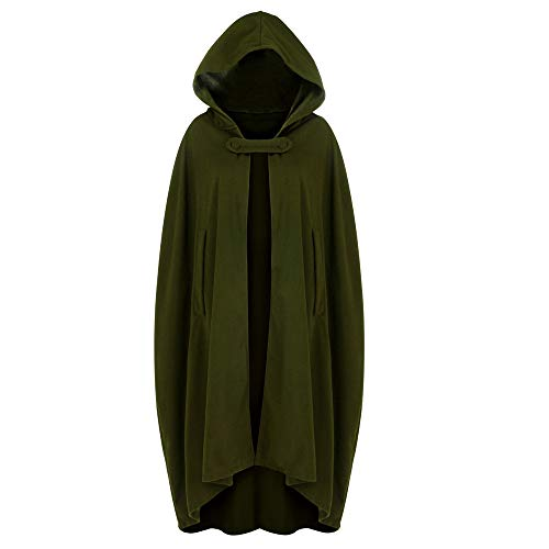 Zimuuy Damen Kleider Karneval Kostüm Mittelalter Kostüm Luxuriös Kostüm Trenchcoat Cardigan mit offener Vorderseite Mantel Mantel Cape Poncho (Armeegrün, S)