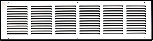 30' X 6' Steel Return Air Grille | HVAC Vent Cover Grill for Sidewall and Ceiling, White | Outer Dimensions: 31.75'W X 7.75'H for 30x6 Duct Opening