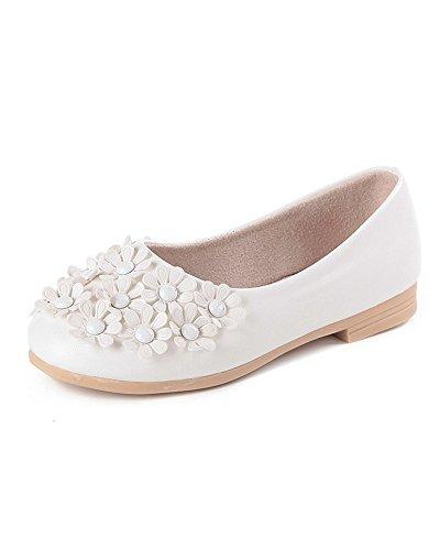 DAYAN Art und Weise Kinder Mädchen Prinzessin Schuhe schöne Blume scherzt Schuhe weiche alleinige lederne flache Schuhe Farbe weiß Größe 28