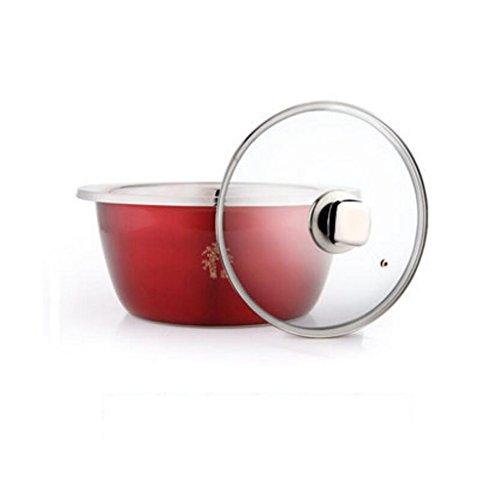 Bassin de soupe MXJ61 304 Bassin en Acier Inoxydable Mélange Plus épais Basin Bassin Rouge Approfondir Laver Les légumes Pots Pots de Cuisson Ronde Soup Bowl Diamètre 20 cm (Taille : with Cover)