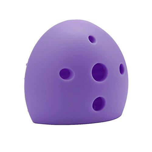 Leewa Silicone Egg Cleaning Glove Makeup Washing Brush Drying Racks Scrubber Tool Cleaner (Purple, 60x65x30MM)