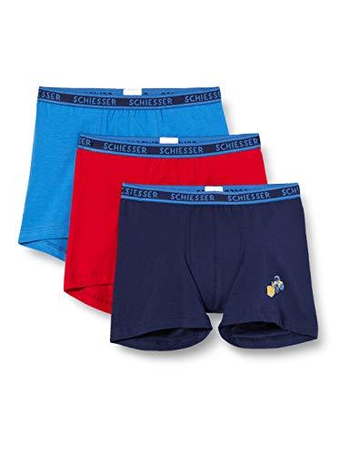 Schiesser Jungen 3pack Hip Shorts Boxershorts, Mehrfarbig (Sortiert 1), 98 (3er Pack)