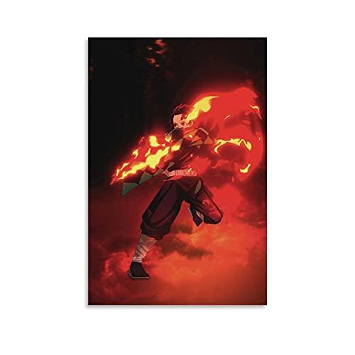 HAPPOW Póster de anime Demon Slayer Kamado Tanjirou Pintura decorativa Lienzo Arte de la pared Carteles de la sala de estar Pintura del dormitorio 30 x 45 cm