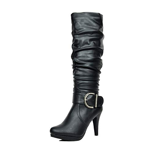 DREAM PAIRS Women's Paris Black Pu Knee High High Heel Winter Boots - 9.5 M US
