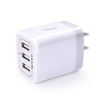 USB Charger Cube Wall Charger Plug AILKIN 3.1A 3-Muti Port USB Adapter Power Plug Charging Station Box Base for iPhone 12Po Max Mini SE 11 Pro Max/X/8/7/6S iPad Samsung Phones USB Charging Block