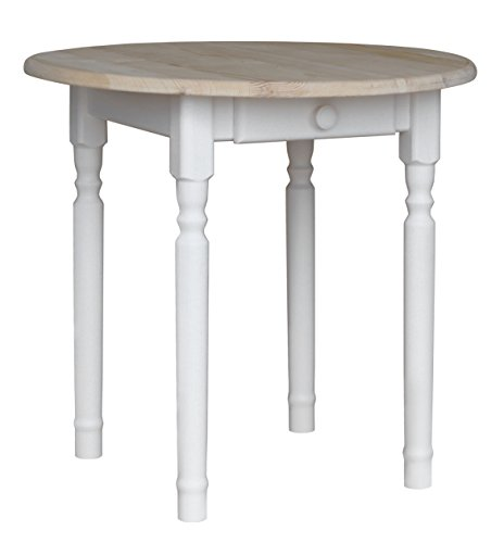 koma Runder Kiefer Tisch Esstisch Holz Küchentisch weiß Honig Landhausstil Schublade (UNBEHANDELT)