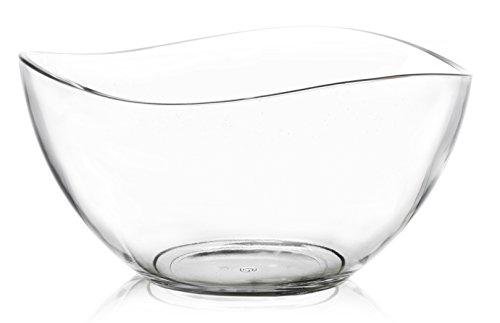 tamirei di design, una ciotola in vetro, grande, con bordo ondulato, 1.3litri di capacità, Insalatiera, adatto a piccole ciotole di tamirei Design