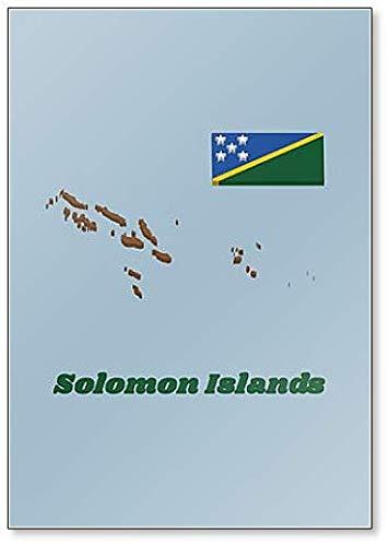Kühlschrankmagnet, Motiv Karte & Flagge der Salomonen