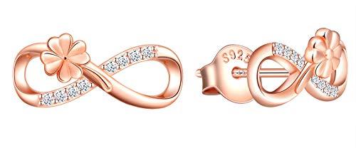 INFINIONLY Orecchini da donna ragazza, Parure di gioielli Orecchini in argento sterling 925, orecchini simbolo dell'infinito e trifoglio, intarsio in zirconio, oro rosa