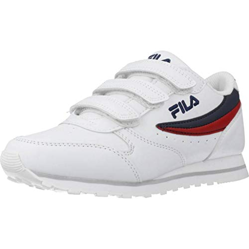 Fila Bambini cod.101078598F Orbit Velcro Low Kids col.White Dress Blue in Pelle (Numeric_29)