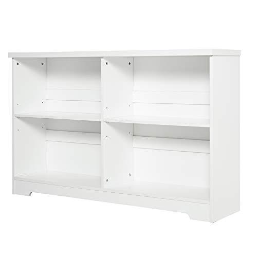 HOMCOM Estantería de Madera Librería Biblioteca de 4 Compartimentos con Baldas Ajustables para Libros Archivos 118,2x29,5x76,5 cm Blanco
