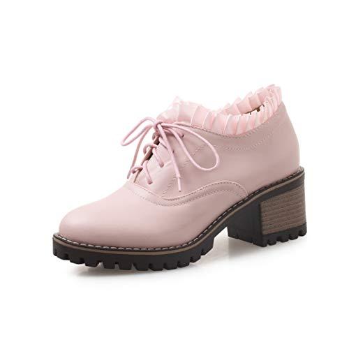 Women's Classic Lace Up Oxfords Shoes Platform Block Mid-Heel Round Toe Dress Pumps Brogue Shoes Pink