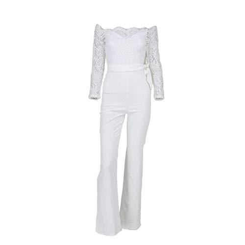 LvRaoo Donna Jumpsuit Pantaloni Lunghi Pizzo Playsuit Tuta Eleganti Tute da Cerimonia Spiaggia FestaCocktail con Cintura (Bianco, CN M)